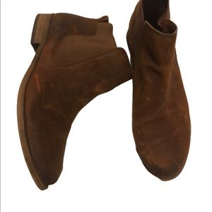 Franco Sarto Distressed Brown Leather Ankle Boots